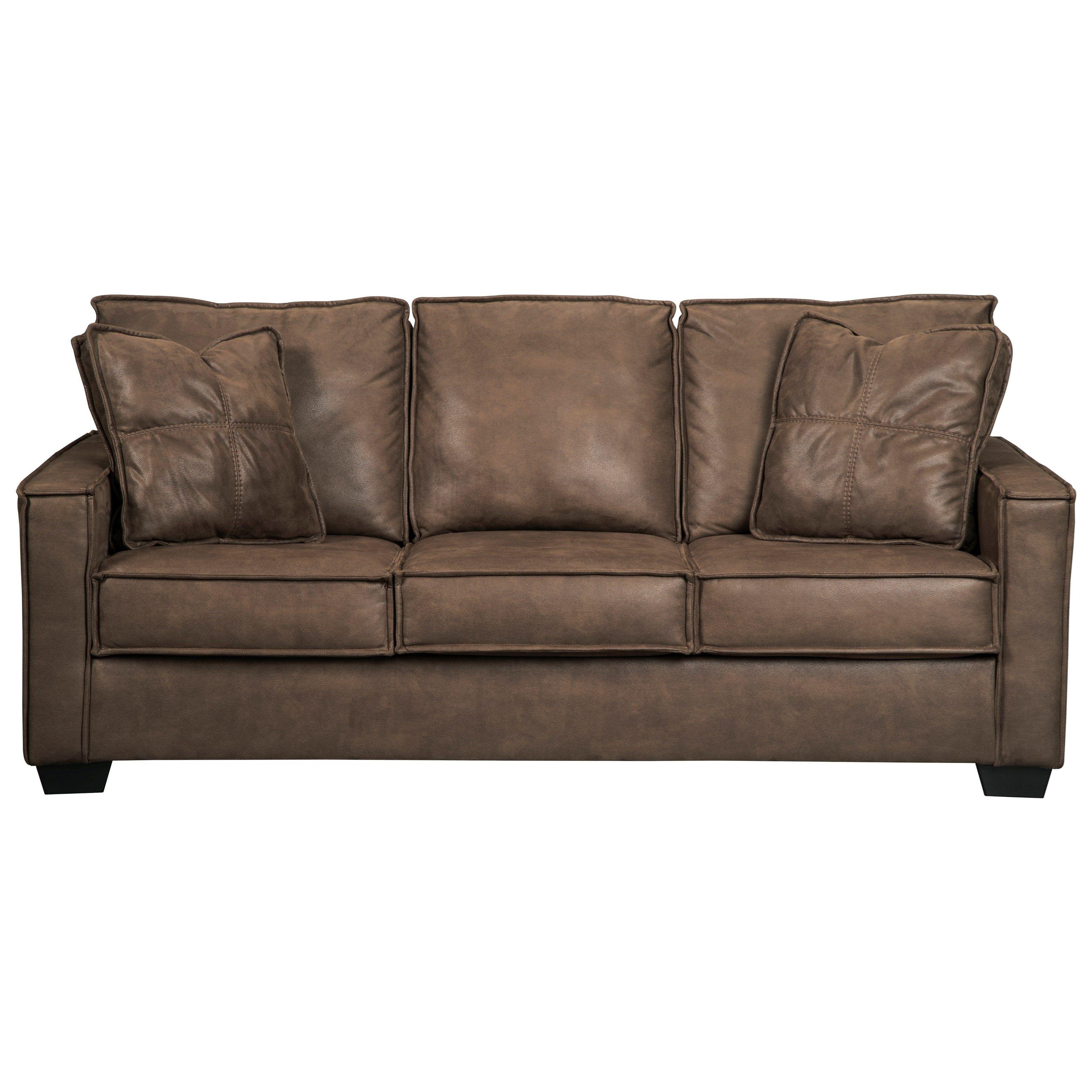 Faux Leather Queen Sofa Sleeper With Memory Foam Mattress U0026 Piecrust Welt  Trim