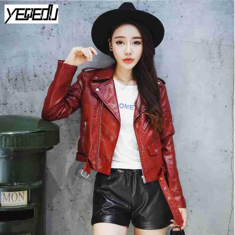2411 Spring 2017 Pu Leather Jacket Women Short Coat Pink Wine Red Black Motorcycle Jacket Solid Color Jaquetas Femininas Jaket Kulit Jaket Malang