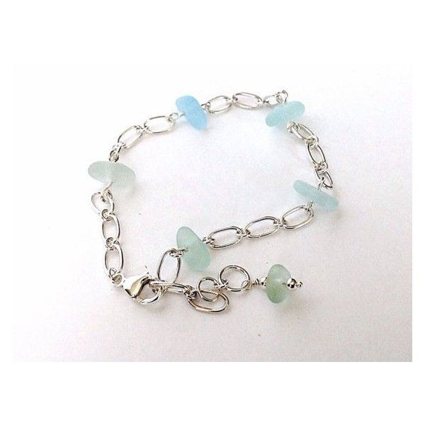 Sea Glass Anklet, Hand Forged Sterling Silver, English Sea Foam Beach... ❤ liked on Polyvore featuring home, home decor, glass home decor, handmade home decor, english home decor, handcrafted home decor and sea glass home decor