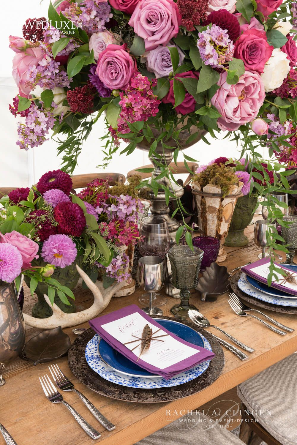 Lilac wedding decoration ideas  Purple floral centrepieces by Rachel A Clingen for rustic glamping