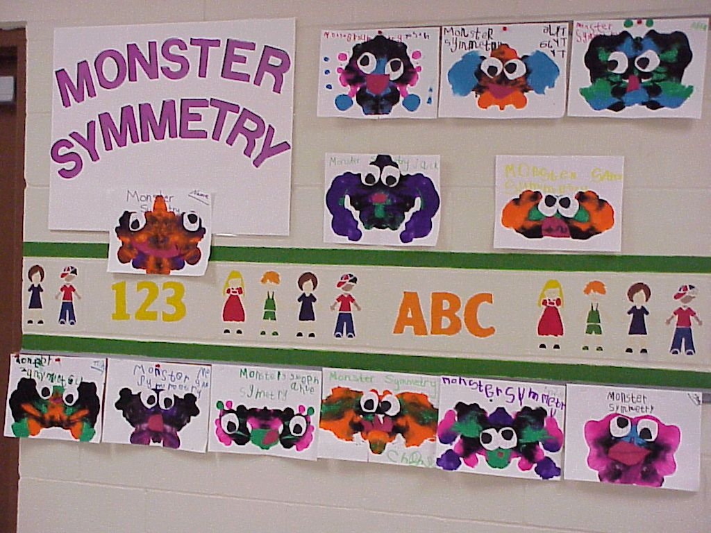 Monster Symmetry - fun way to reinforce Geometry - only thing is the eyes are symmetrical.  I may change that so that they have precut eyes and place them exactly opposite of the others.