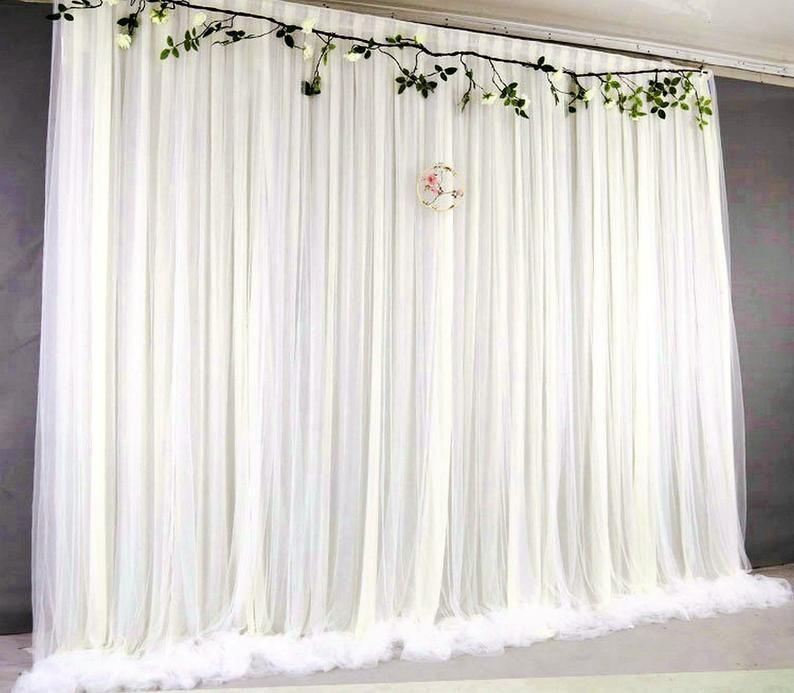 Blue Tulle Wedding Backdrop For Reception Romantic Full Etsy