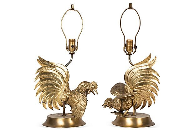 Brass Rooster Lamps Pair Vintage Furniture Furniture Accessories Rooster