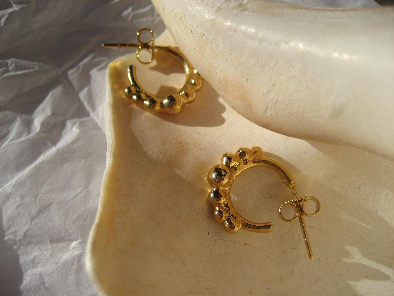 State Agora Earrings 24K Gold Plated Hoop Earrings Gold Hoop