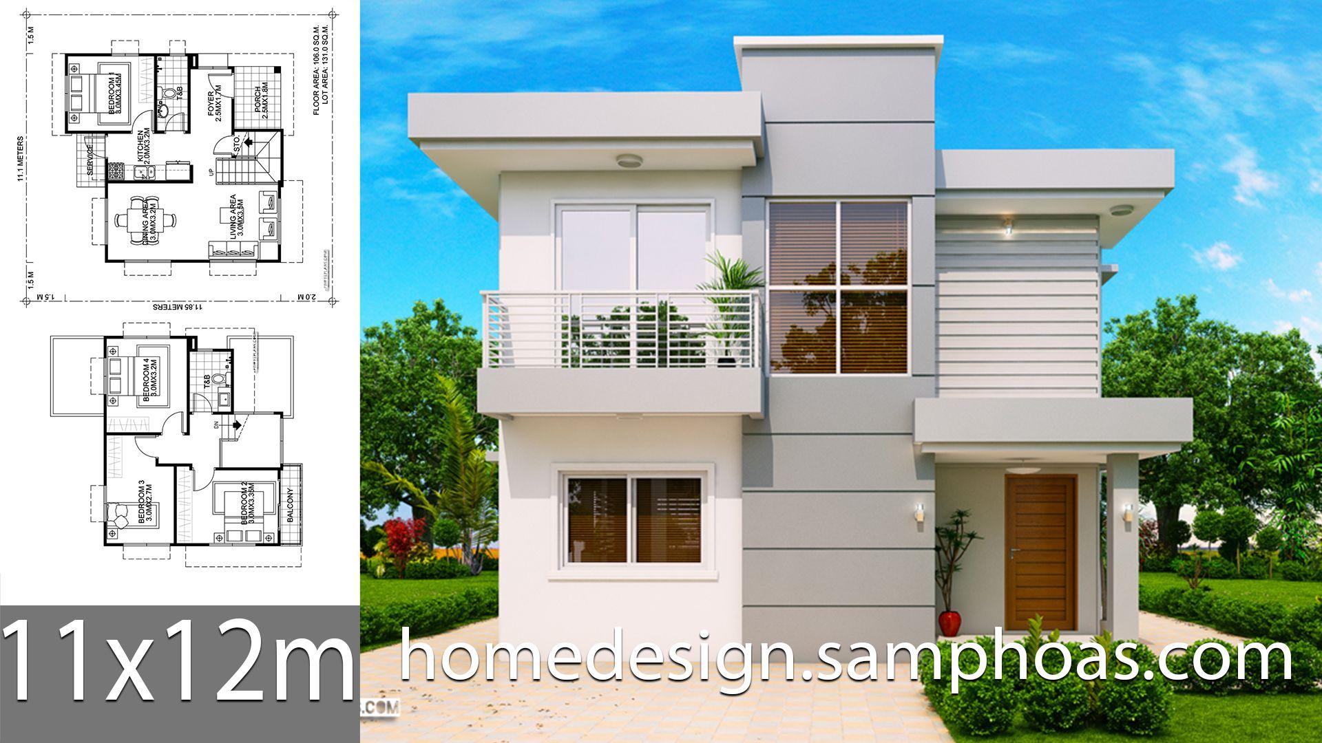 House Design Plans 11x12m With 4 Bedrooms Style Modern Terrace Slap House Description Ground Level 1 In 2020 House Design Home Design Plans House Architecture Design