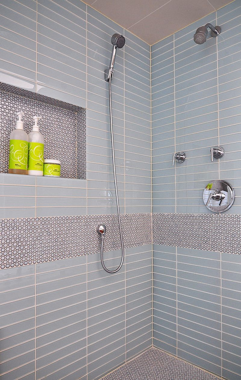Cents And Sensibility How To Install A Copper Penny Floor Shower Niche Penny Tile Bathroom Interior Design