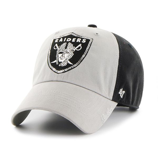 Oakland Raiders Sparkle Two Tone Clean Up Black 47 Brand Womens Hat ... 559607cc6a