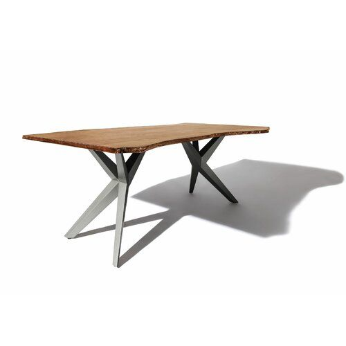 Esstisch Freeform Massivmoebel24 Farbe (Tischgestell): Silberfarben, Farbe (Tischplatte): Natur, Größe: 76 cm H x 220 cm L x 100 cm B