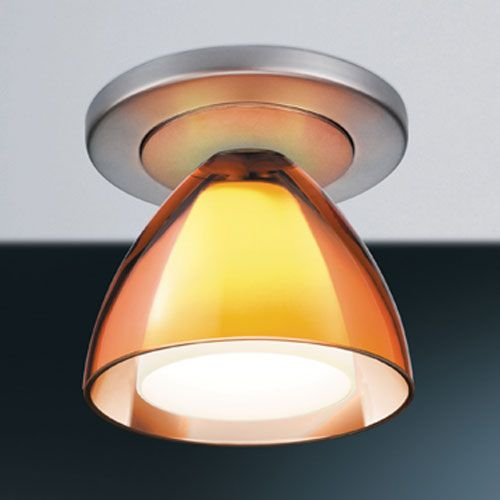 Rainbow II Matte Chrome 4-Inch Ceiling Light with Orange Glass with 4-Inch Canopy
