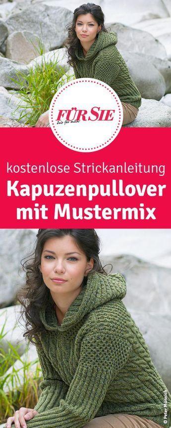 Photo of Strickanleitung: Kapuzenpulli im Mustermix