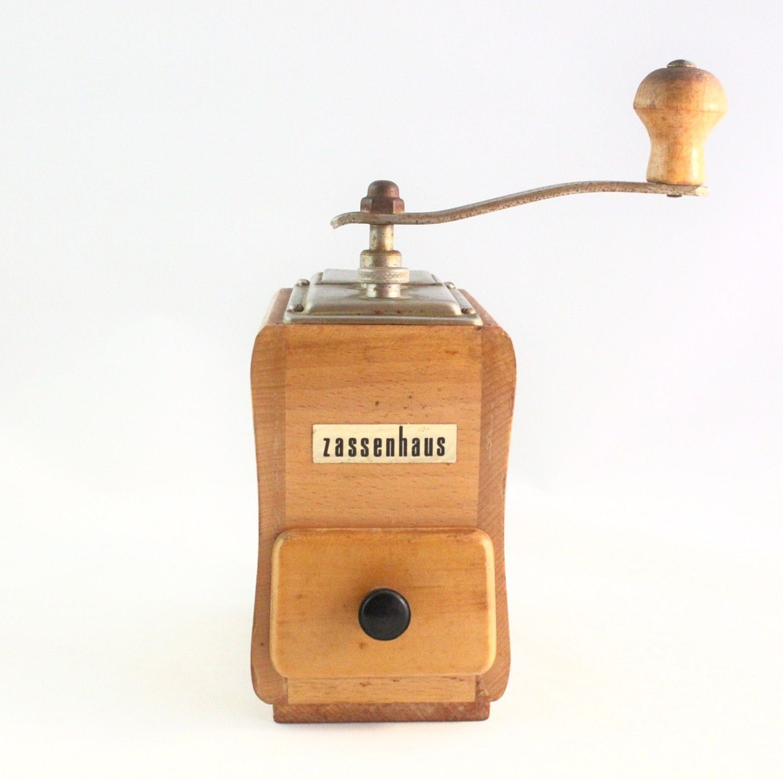 Vintage Zassenhaus Coffee Grinder With Wood Box Etsy Coffee Grinder Vintage Coffee Wood Boxes