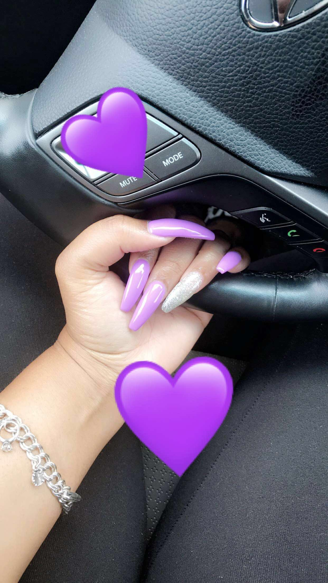 Purple Acrylic Nails Coffin Designs Nailstip