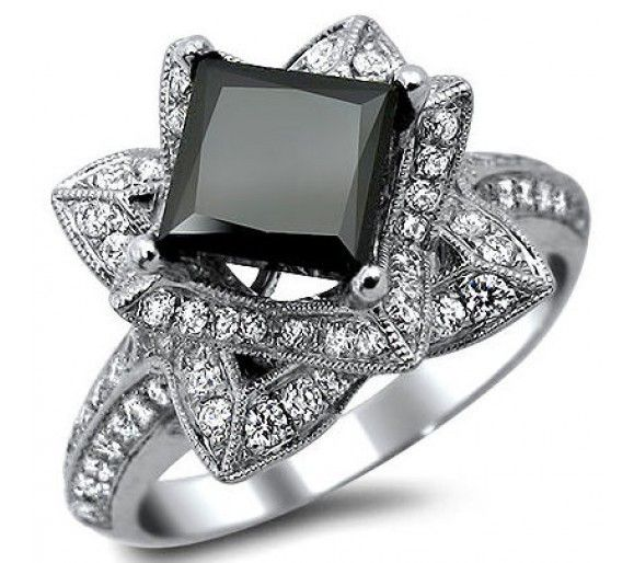 2.42ct Black Princess Cut Lotus Flower Diamond Engagement Ring 14k White Gold