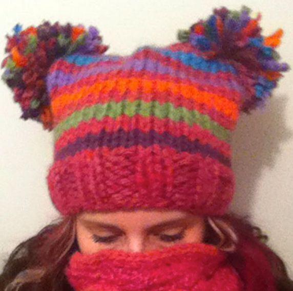 Crazy Stripe Adult Pom Pom Hat
