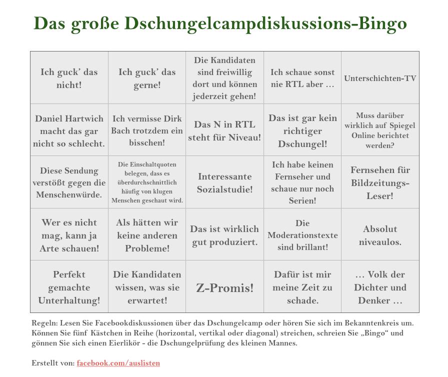 Dschungelcamp Bullshit Bingo Bullshit Bingo Bullshit Und Bingo