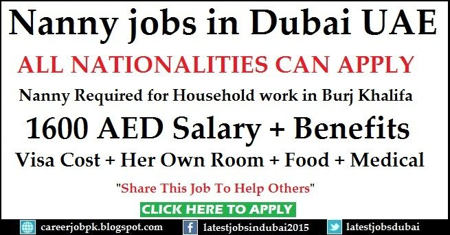 #BabysittingNannyjobsinDubaiUAE Nanny Required for Household work in Burj Khalifa Package: 1600 AED Salary + Visa Cost + Room + Food + Medical >>> Share This Job To Help Others <<<