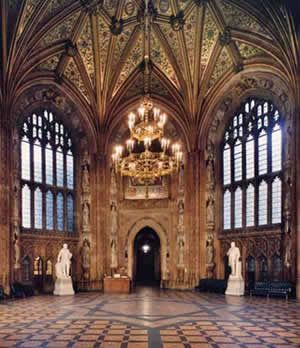 The Octagonal Central Lobby In The Houses Of Parliament. London, Featuring  Mosaics Of St George, St David, St Andrew And St Patrick.