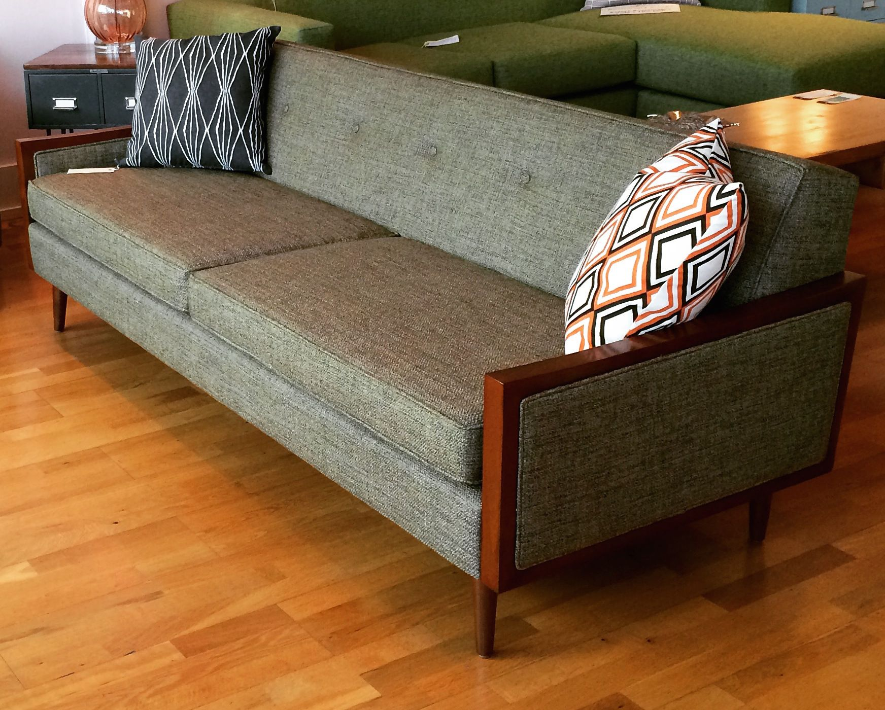 Mid Century Modern Designed Sofa With Wood Arms Custom Made In