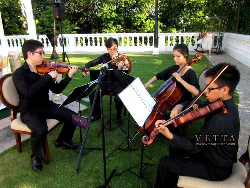 Theo And Yvonne Held Their Wedding In Style At The Elegant Alkaff Mansion We Played Outdoors For The Solemnisation Live Music Band Quartet Event Entertainment