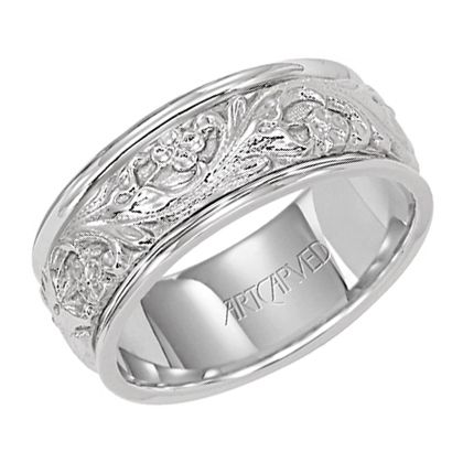 dceeef841b88f7 ArtCarved 8mm men's wedding band with 14KT white gold inlay ...
