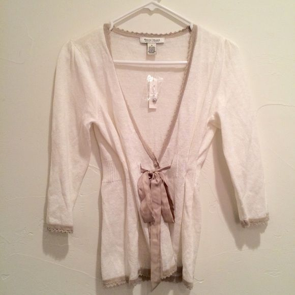 White House Black Market Linen Cardigan This NWT cardigan is light, white and summery with a tan trim and silk sash. White House Black Market Sweaters Cardigans