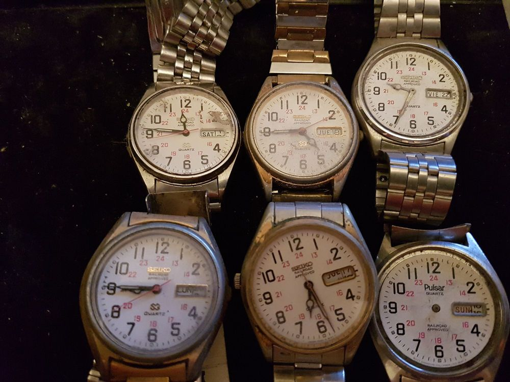 0f5922533 VINTAGE LOT OF 6 SEIKO AND PULSAR RAILROAD APPROVED QUARTZ WATCHES FOR  REPAIR #Seiko