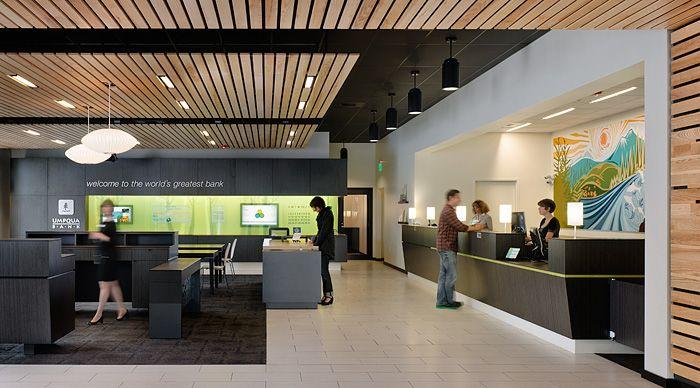 Wood Planks Bank Interior Design Bank Design Lobby Design