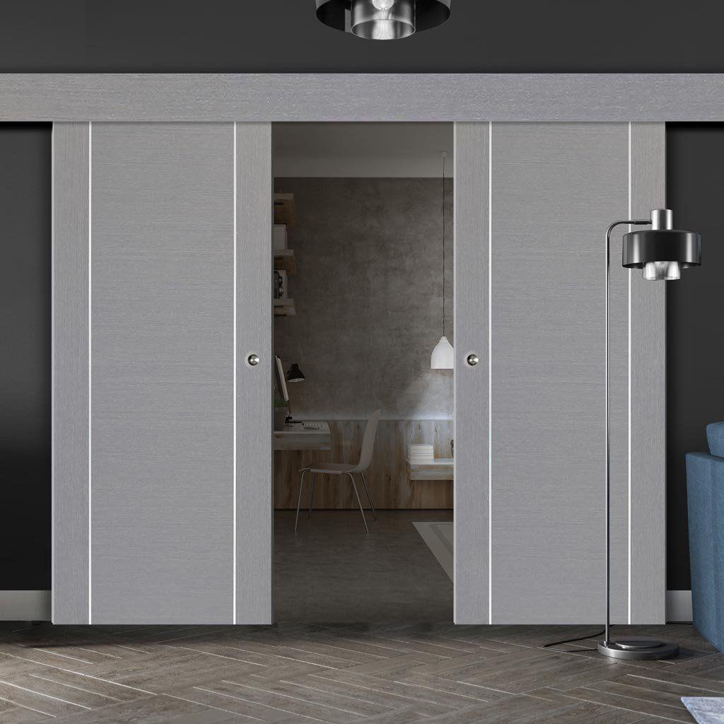 Thruslide Surface Forli Light Grey Flush Sliding Double Door And Track Kit Aluminium Insert Prefinished Sliding Doors Internal Sliding Doors Loft Style