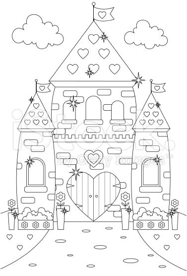 Fairytale Enchanted Sparkly Castle Fit For A Queen Or Princess In Castle Coloring Page Coloring Pages Outline Drawings