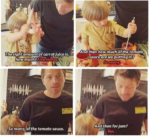 Misha cooking with his son.