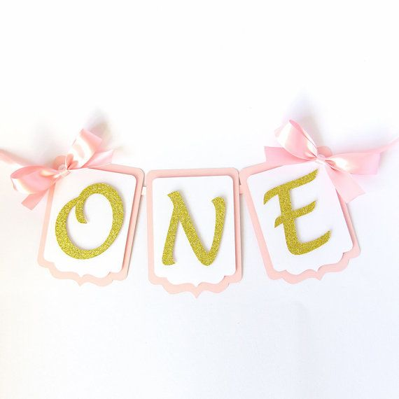 First Birthday Highchair Banner Pink And Gold Cake Smash 1st Birthday Party Decorations Boy Birthday Girl One Year Old Silver Garland 1st Birthday Party Decorations Birthday Party Decorations First Birthday Party Decorations