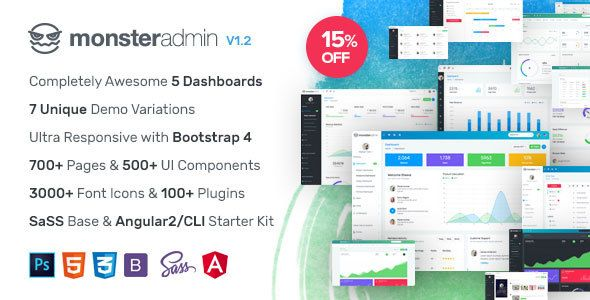 Monster Most Complete Bootstrap 4 Admin Template Angular