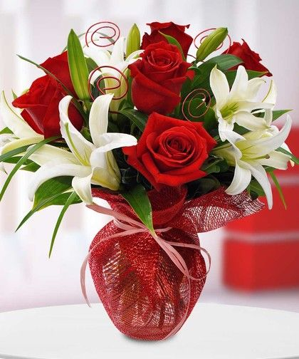 Romantic Rendezvous Rose And Lily Bouquet Flowers For Men Silk Red