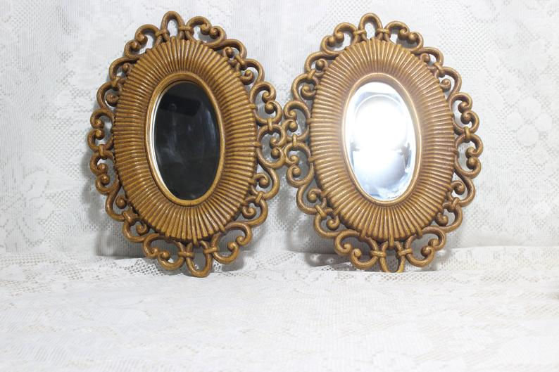 """PAIR OF 2 6/"""" OVAL LIGHT MIRRORED BEZEL COVER"""