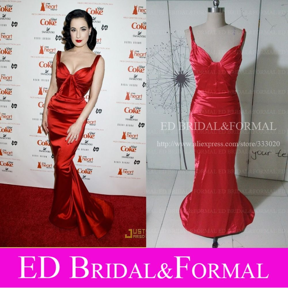 Dita Von Teese Red Carpet Red Mermaid Prom Gown Celebrity Formal ...