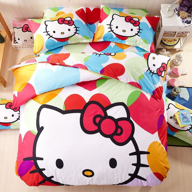 Free Shipping New Good Quality 4 pcs/set Hello Kitty Bedding Set Children Cotton Bed sheets Duvet Cover Bed sheet Pillowcase