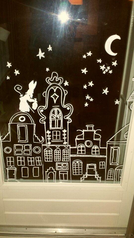 krijtstift sinterklaas raamdecoratie   school knutsels - sinterklaas