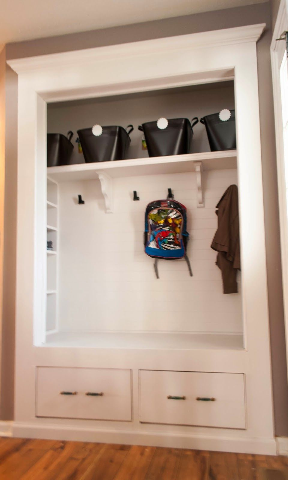 Hallway Coat Closet Turned Bench Mudroom