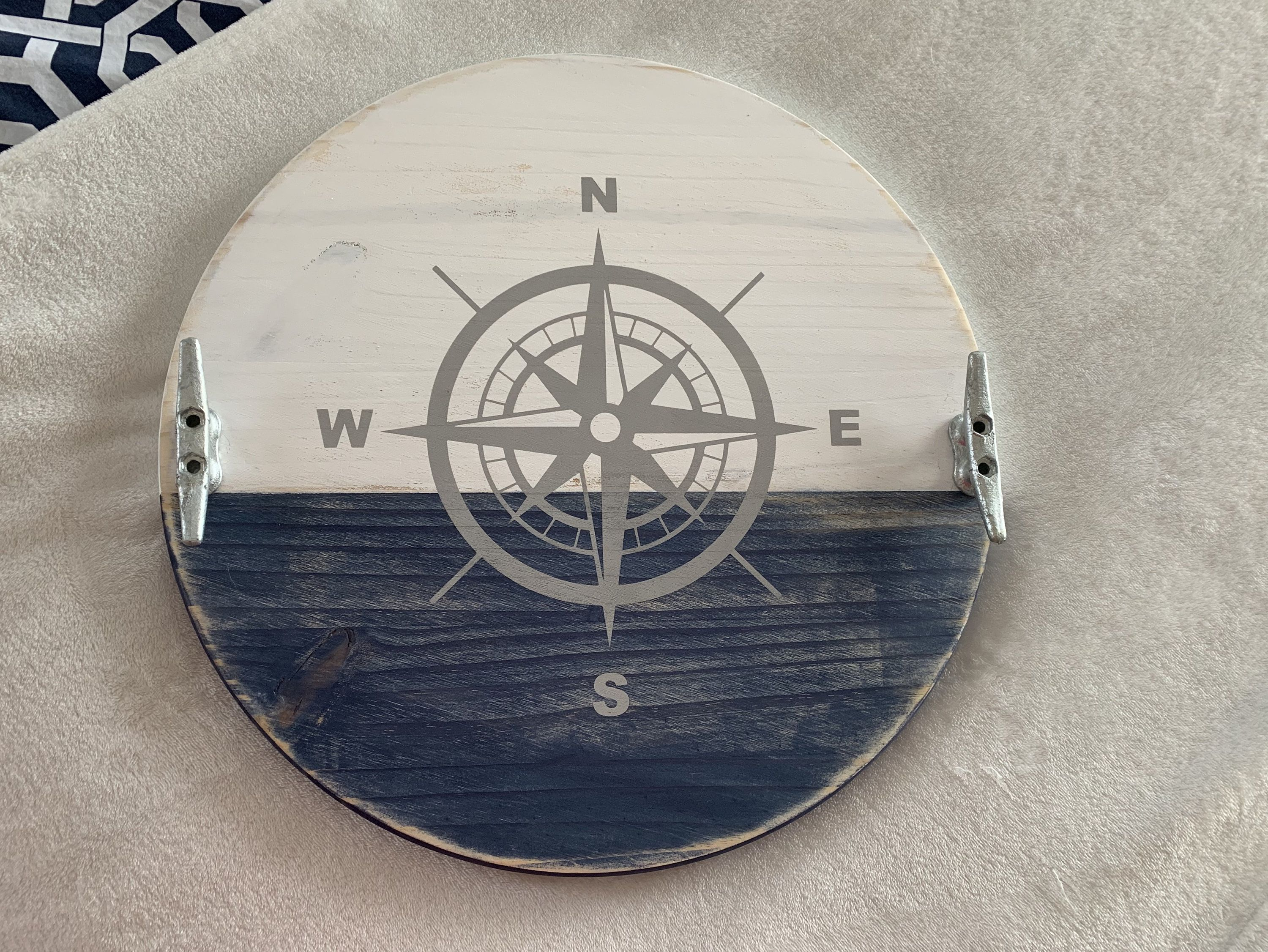 Photo of Nautical Compass Wood Round Serving Tray with handles, Distressed, Coastal Farmhouse, Beach house, Lake House, boat cleats, Christmas