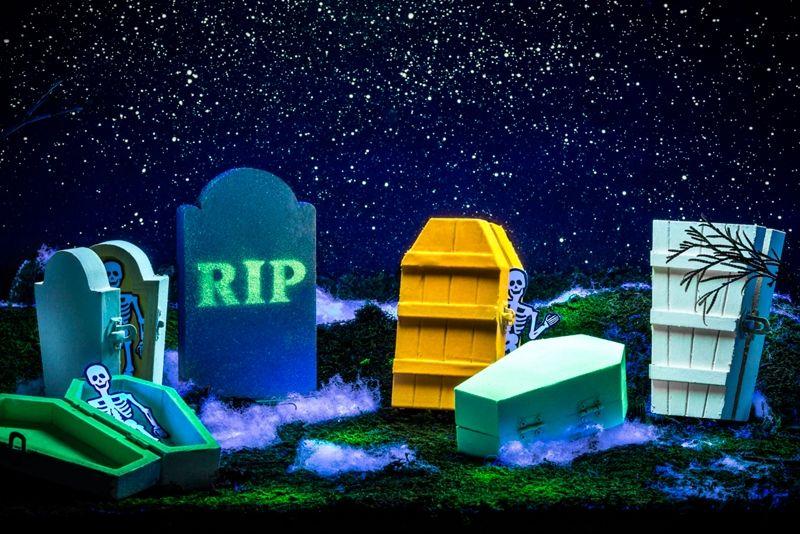 Use Krylon Glowz Glow In The Dark Paint In Glowz Green Glowz Orange And Glowz White To Crea Halloween Graveyard Spray Paint Projects Fall Decorating Projects