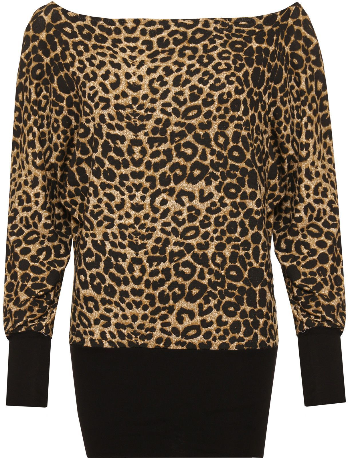 b1bdc267f6 Womens Plus Leopard Batwing Top Long Sleeve Animal Print Bodycon Stretch  Ladies