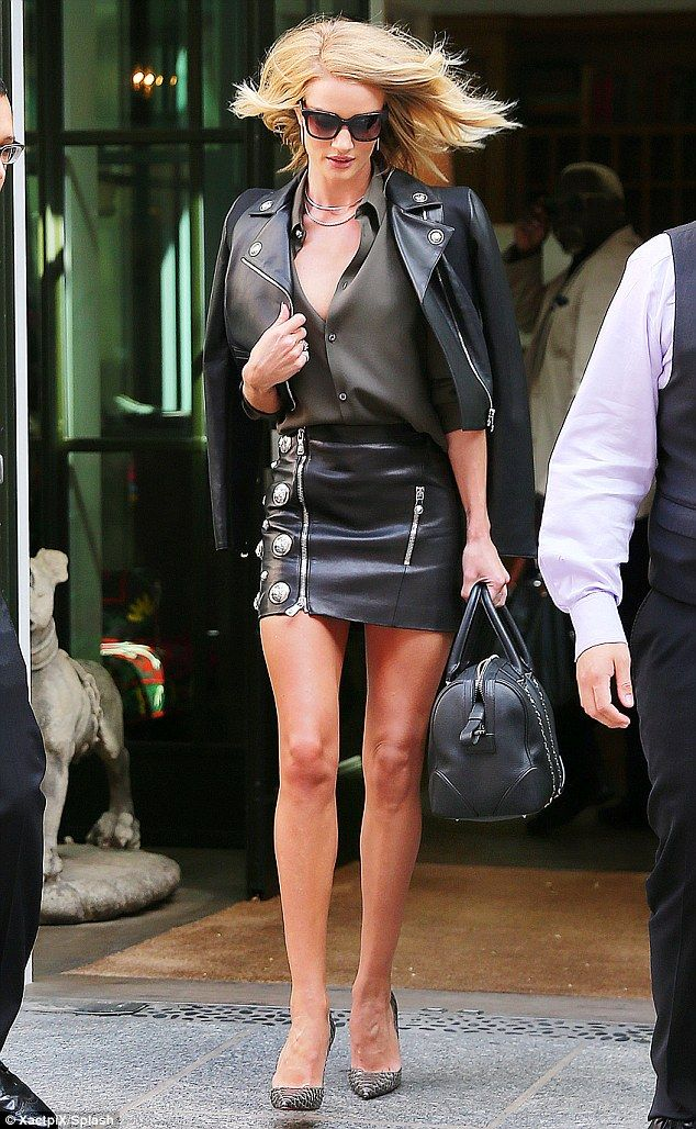 Leather lady  Rosie Huntington-Whiteley channeled in her inner rocker  donning a leather lo. b3f5040cddfb9