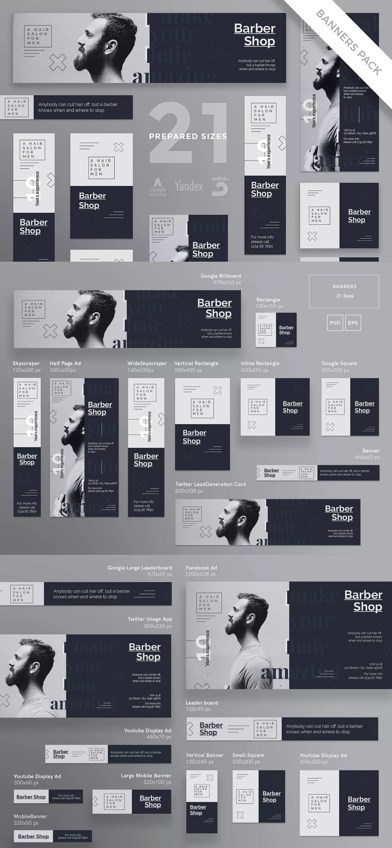 Barbershop Haircut Banner Pack Template By Ambergraphics On Web