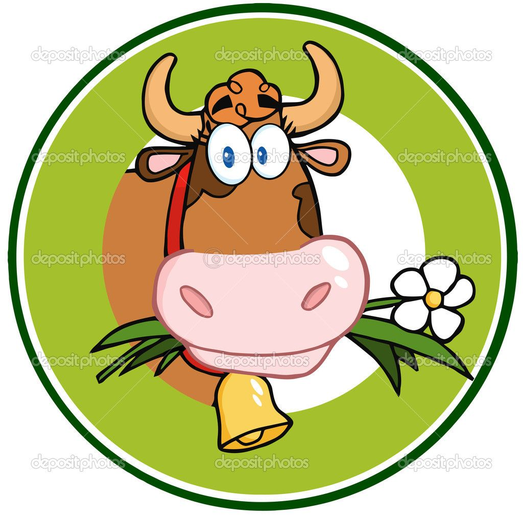 dairy cow cartoon logo mascot banner u2014 stock photo hittoon