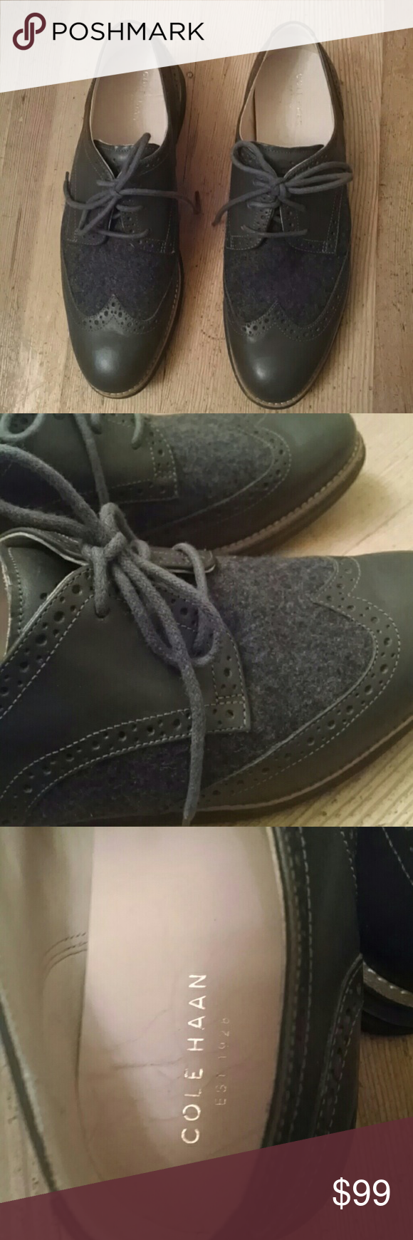 COLE HAAN Wool & Leather Lunargrand Wingtip Oxford Magnet grey Lunargrands w/ leather toecap & quarter, and a WOOL vamp. Gorgeous, great condition, very clean!    These have only been worn a few times.  The insoles have some creasing (pic 3), the soles show minor soiling and almost no wear (pic 4). Otherwise, they look fantastic!  These are women's shoes, size 9.5 B . They fit very comfortably, but not recommended for wide feet.  Thanks for looking!  Please check out my other items that PM…