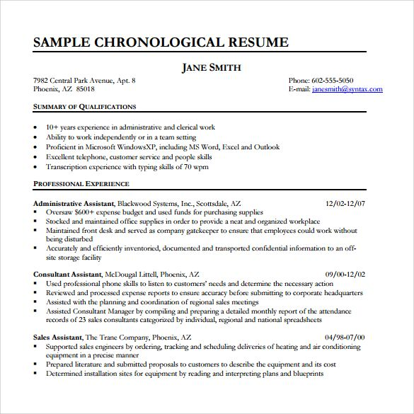 Chronological Resume Samples Examples Format Example  Home Design