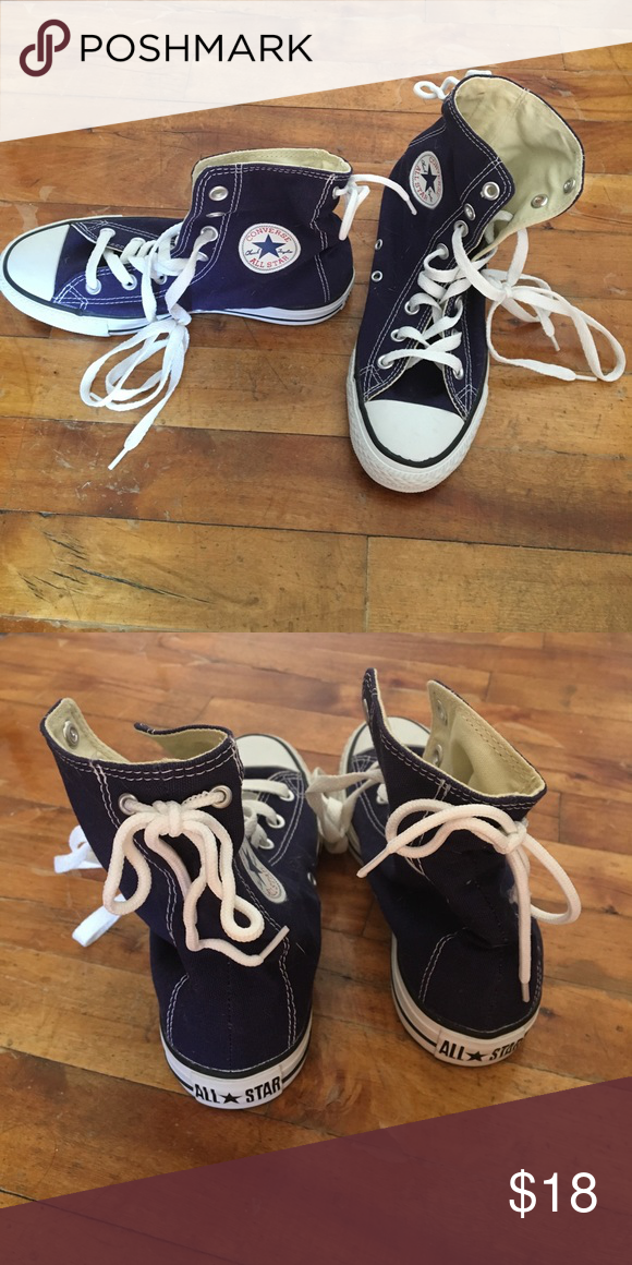49abcc18942cf2 High top converse Dark blue  indigo high top lace up. Laces on back. Gift  and never worn out. Size 6 women s size 4 men s. Converse Shoes Sneakers