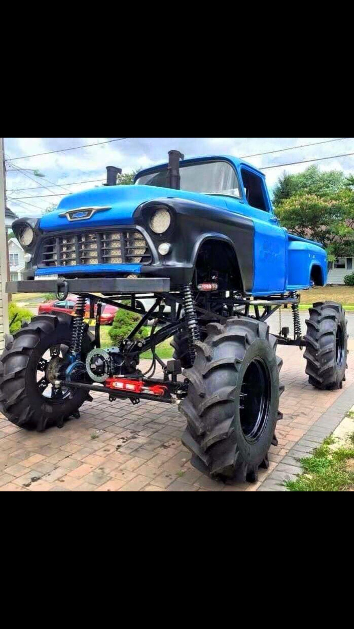 56 Chevrolet Mudder Monster Trucks Chevy Stepside Mud Trucks
