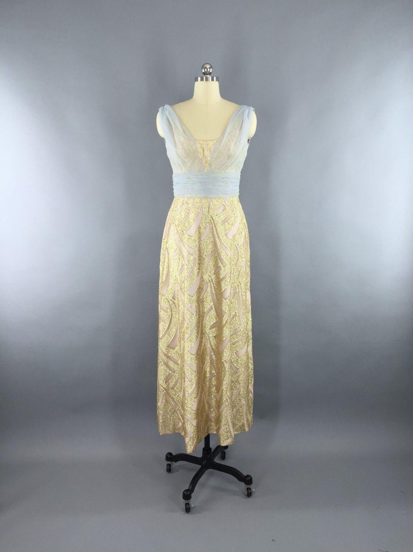 Vintage 1960s Grecian Goddess Gold Maxi Dress by Rose Taft for Helen ...