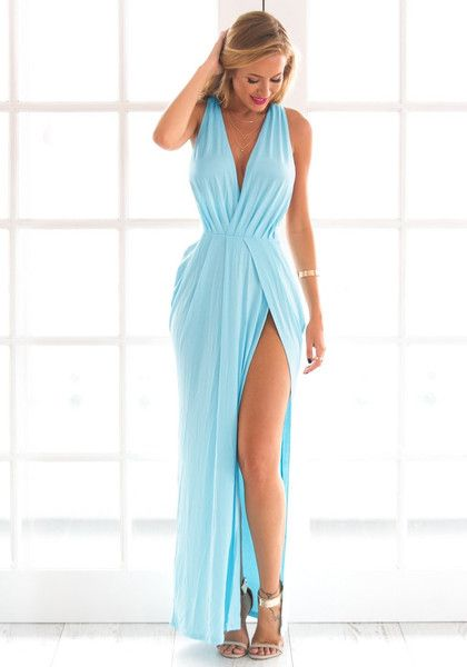 Nothing beats this Greek-inspired light blue surplice Grecian-style dress.  It features sexy front slit c0689ea2c